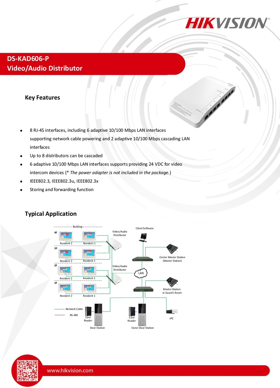 Hikvision DS-KAD606-P 8 RJ-45 interfaces, including 6 adaptive 10/100 Mbps LAN 0