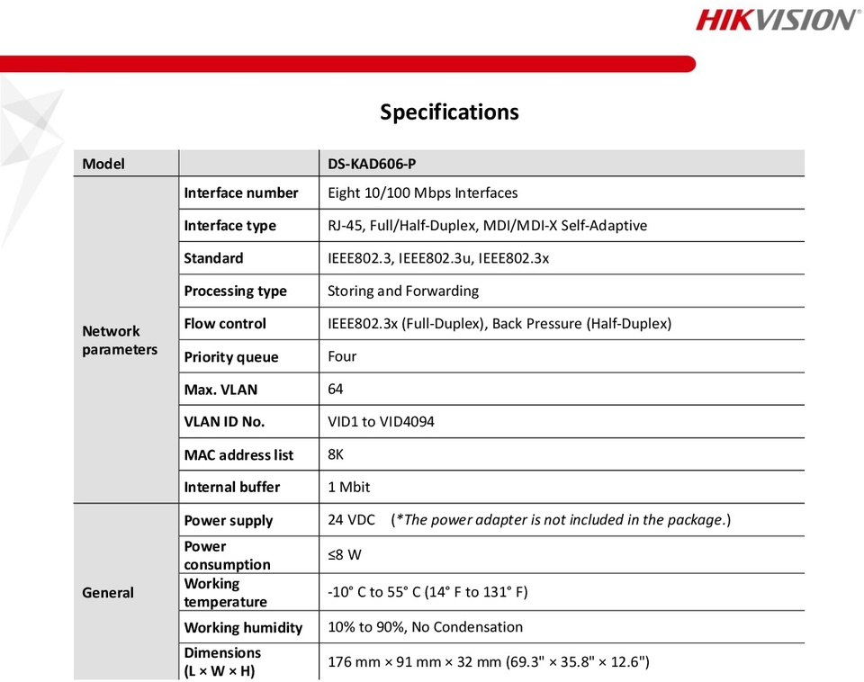 Hikvision DS-KAD606-P 8 RJ-45 interfaces, including 6 adaptive 10/100 Mbps LAN 1