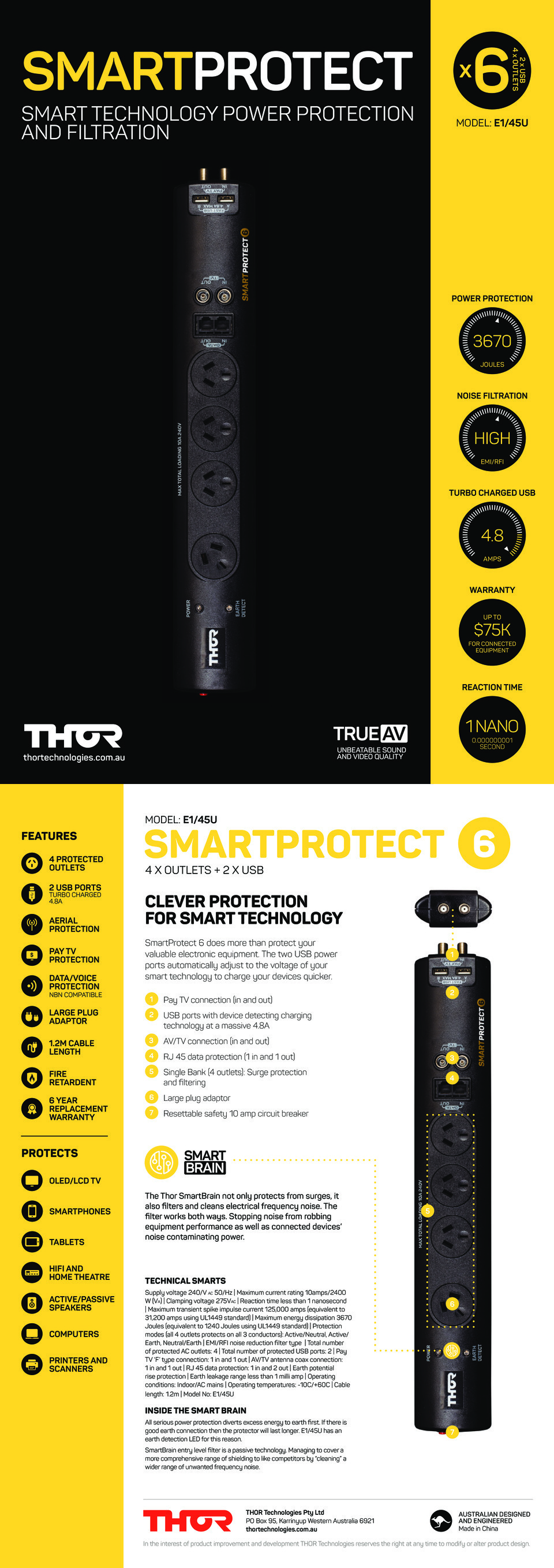 4 Port Thor E145U Smart Protect 6 with USB Fast Charger 0
