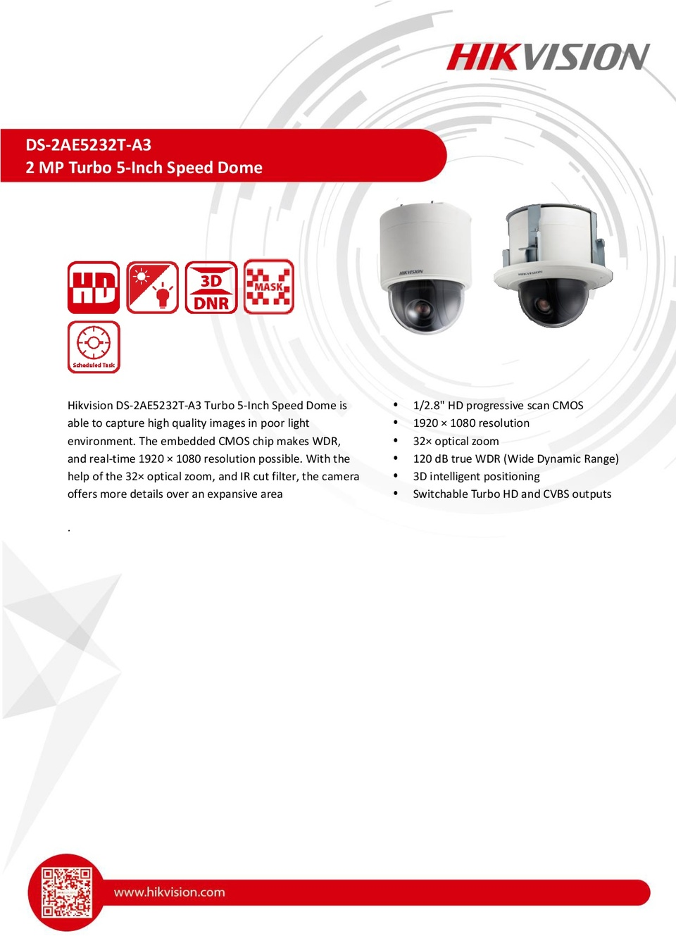 Hikvision DS-2AE5232T-A3 HD-TVI 2MP PTZ Camera With 32X Optical Zoom 0