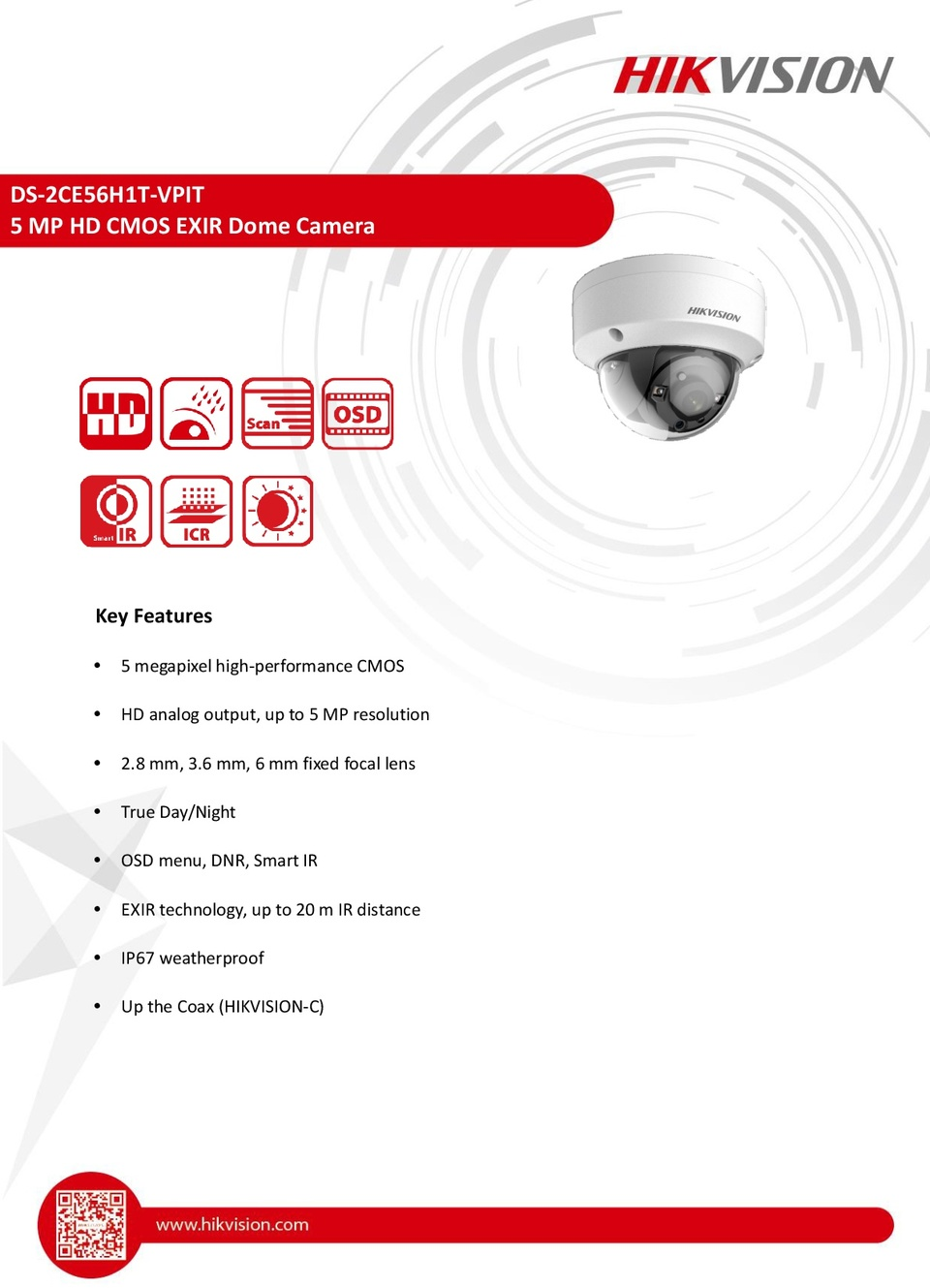 Hikvision DS-2CE56H1T-VPIT 5MP HD-TVI Dome Camera With 2.8mm Lens 0