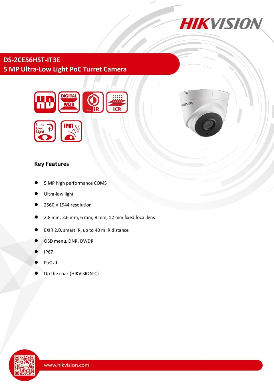 Hikvision DS-2CE56H5T-IT3E 5MP HD-TVI Turret Camera With Power Over Coax and 2.8mm Lens 0