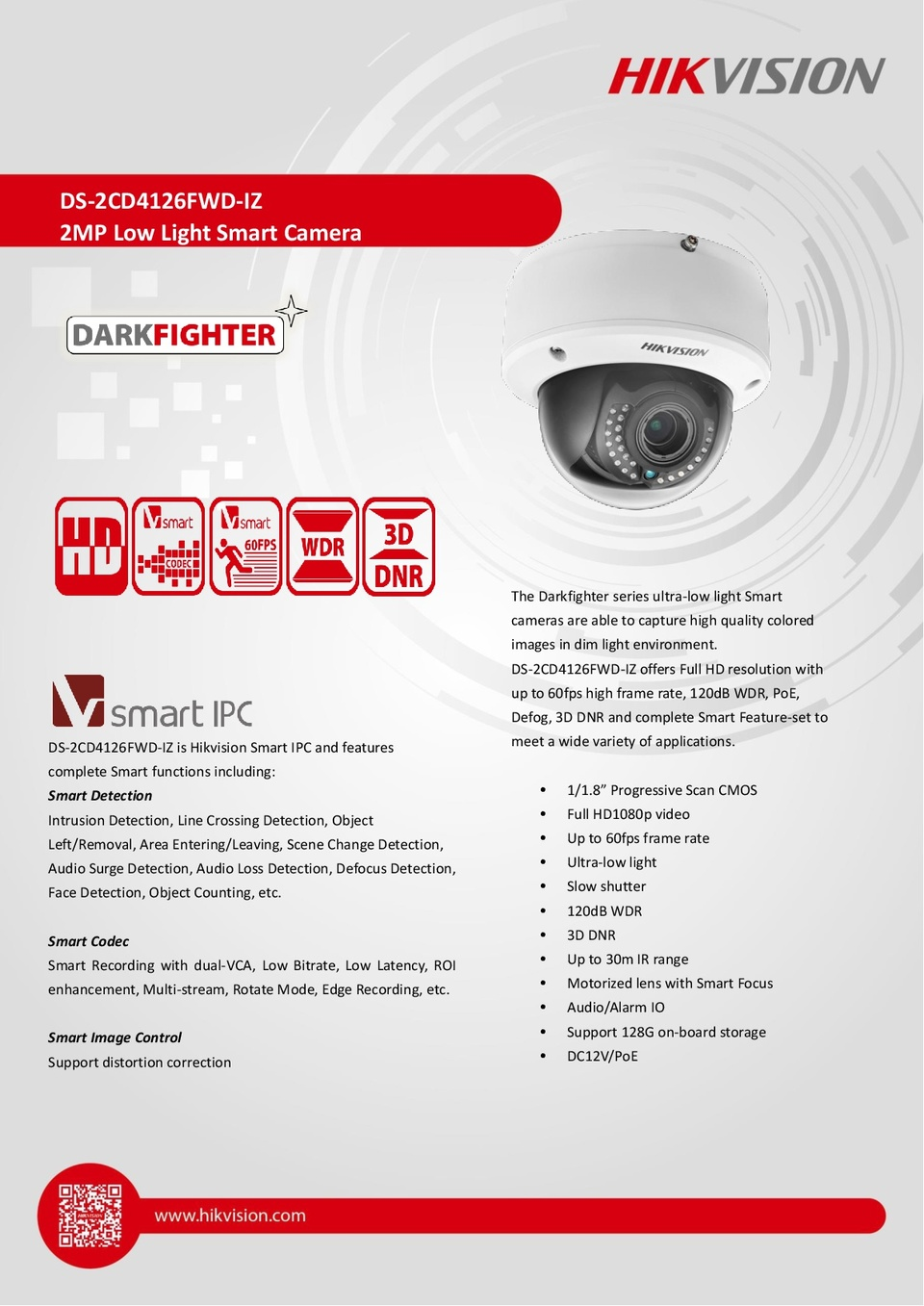 Hikvision DS-2CD4126FWD-IZ 2MP IP DarkFighter Indoor Dome Camera With 2.8-12mm Motorized Lens 0