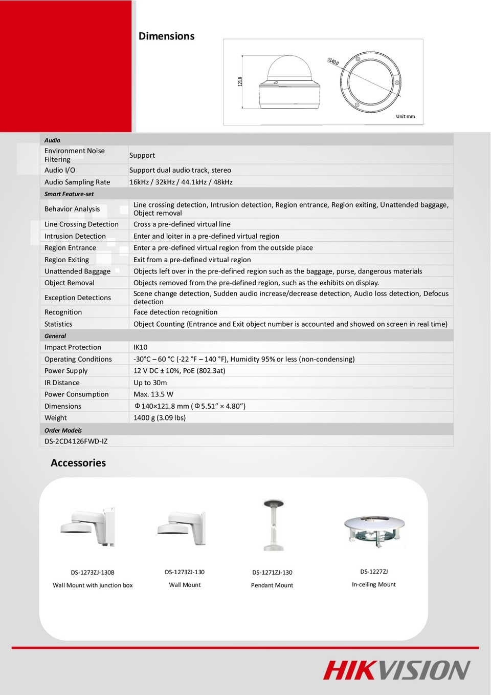 Hikvision DS-2CD4126FWD-IZ 2MP IP DarkFighter Indoor Dome Camera With 2.8-12mm Motorized Lens 3