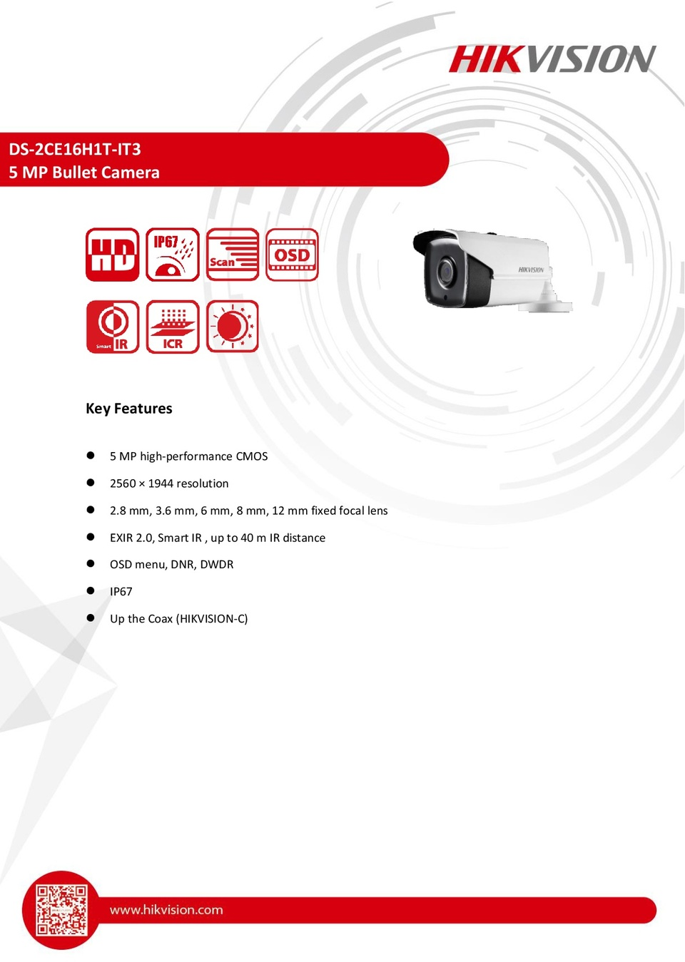 Hikvision DS-2CE16H1T-IT3 5MP HD-TVI Bullet Camera With 2.8mm Lens 0