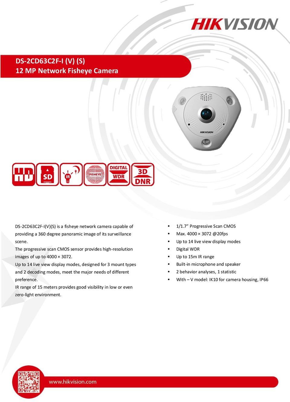 HIKVISION DS-2CD63C2F-IVS 12MP Outdoor Fisheye 360 Camera With Audio Input 0