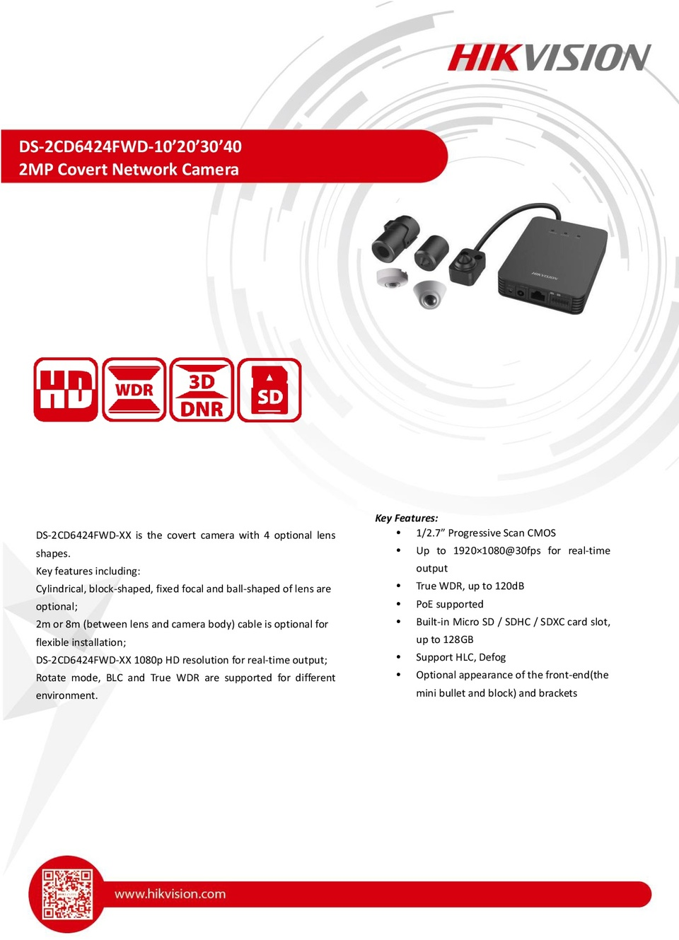 Hikvision DS-2CD6424FWD-L30 2MP Block-Shaped Pinhole Camera With 2m Cable And 2.8mm Fixed Lens 0