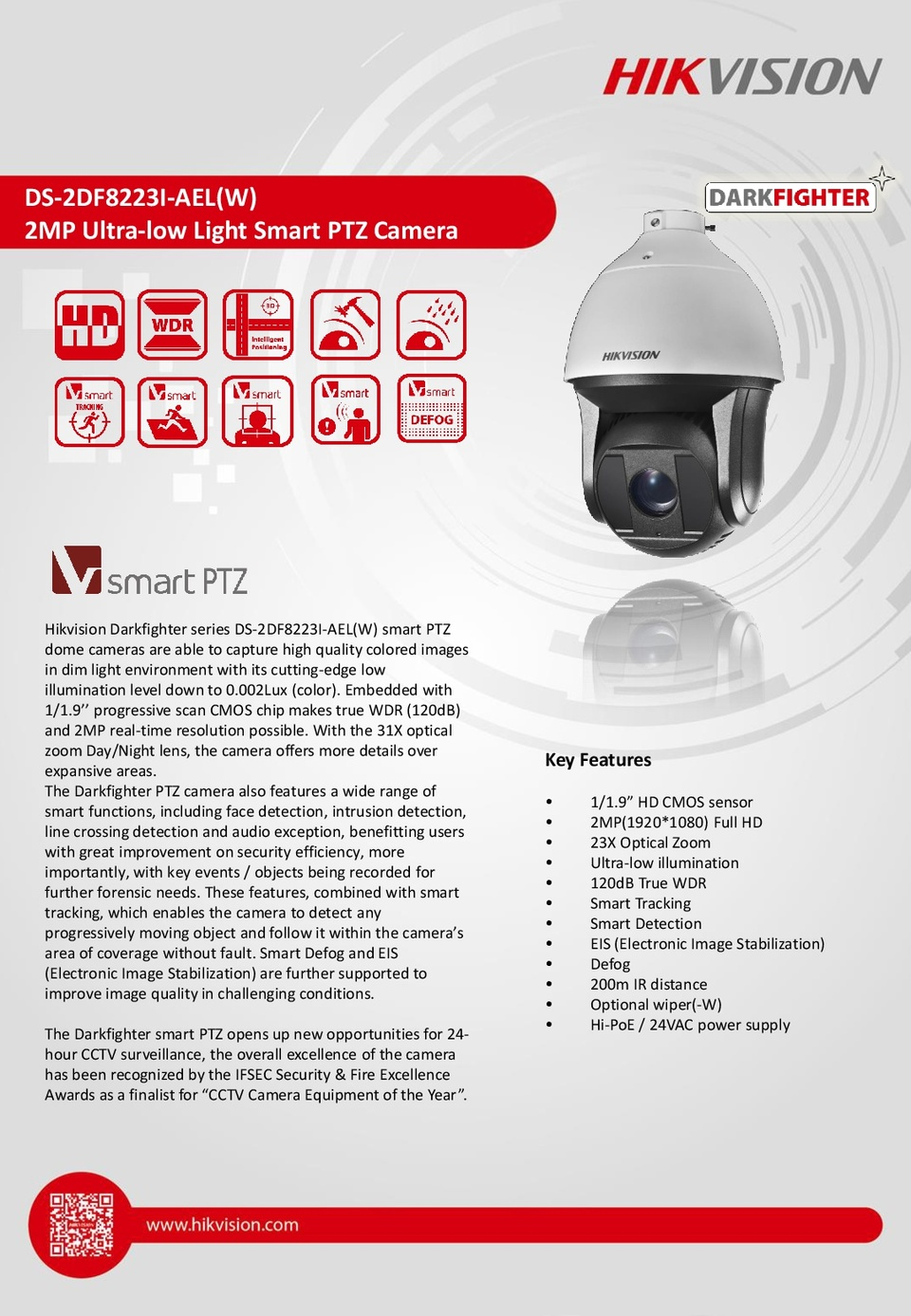 Hikvision DS-2DF8223I-AEL IP Outdoor Darkfighter PTZ Camera With 5.9-135.7mm Lens 0