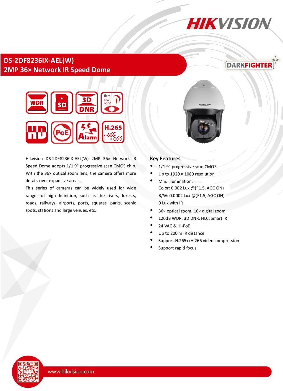 Hikvision DS-2DF8236IX-AEL 2MP IP Darkfighter PTZ Camera with 36X Optical Zoom 0