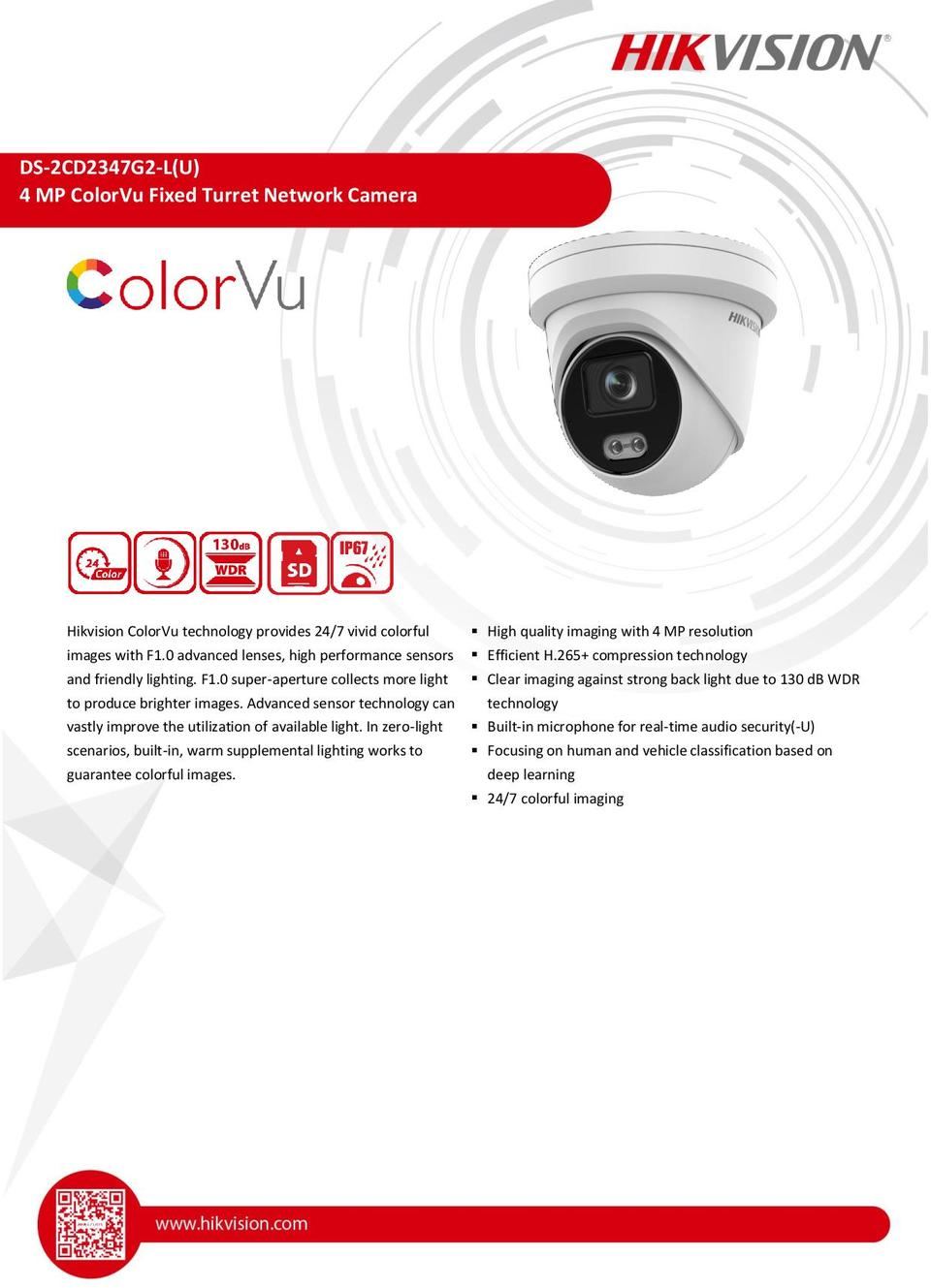 Hikvision DS-2CD2347G2-L(U) 4MP ColorVu with Acusense Turret Camera with 4.0mm Lens 0