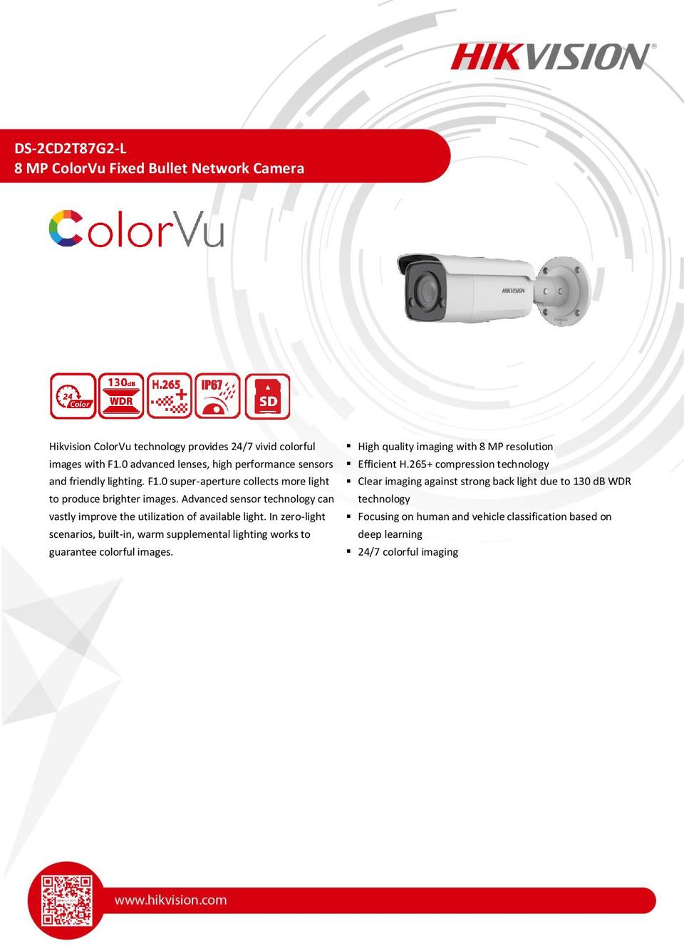 Hikvision DS-2CD2T87G2-L 8MP ColorVu with Acusense Bullet Camera with 2.8mm Lens 0
