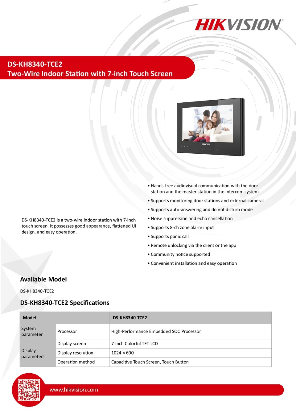 Hikvision Ds Kh8340 Tce2 2 Wire Indoor Station Digitalsi Series Magnetic Lock Wiring Instructions 0