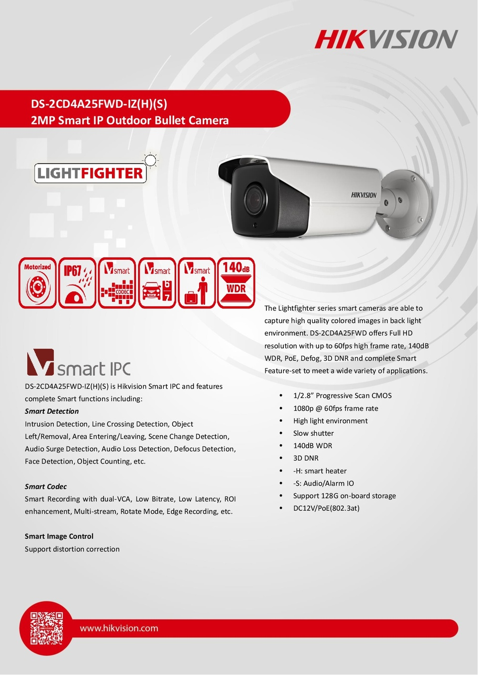 Hikvision DS-2CD4A25FWD-IZ Lightfighter 2MP IP Outdoor Bullet Camera With 2.8-12mm Motorized Lens 0