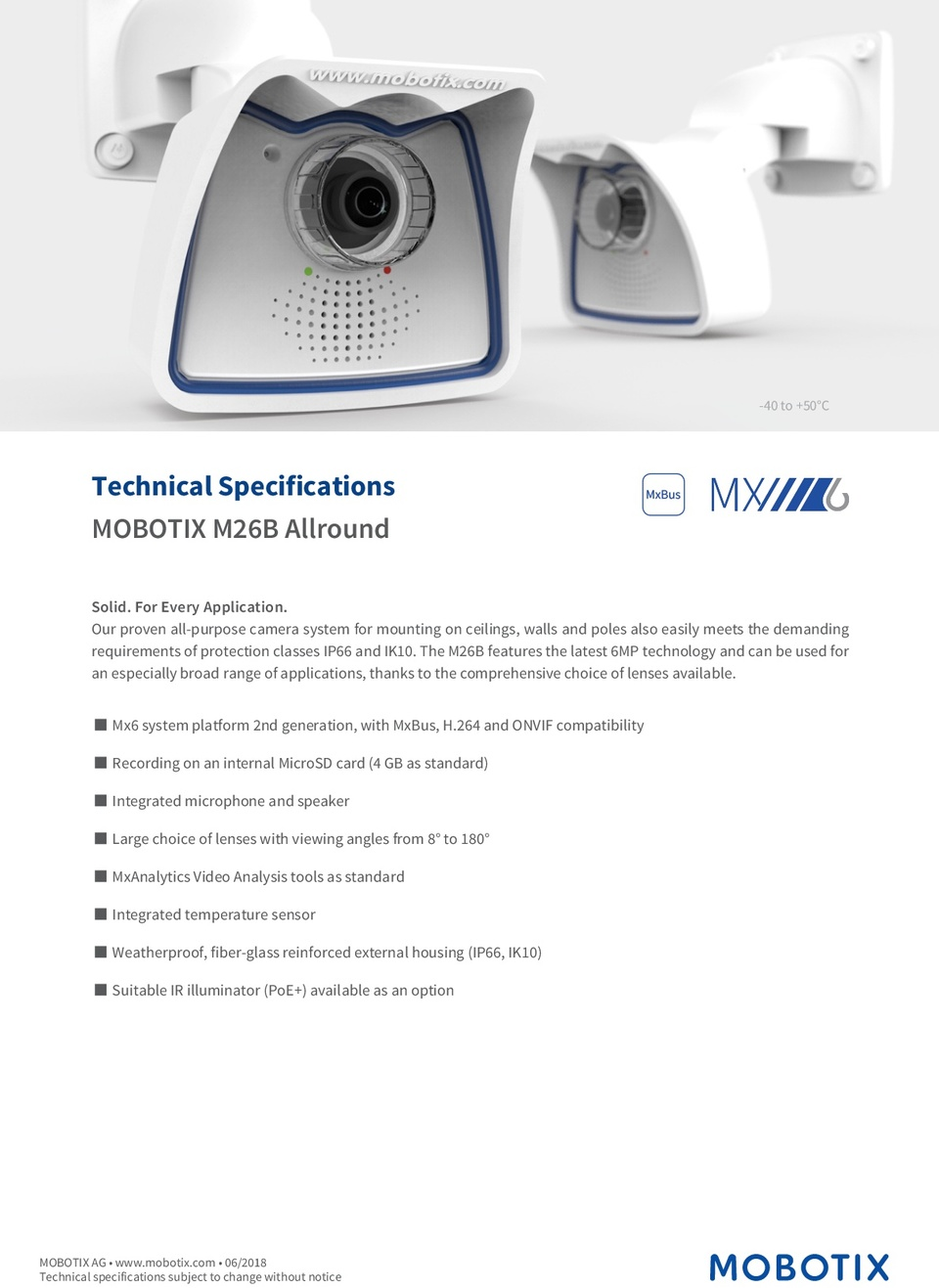 Mobotix M26B Camera 6MP L43 7.9mm Day Lens 0