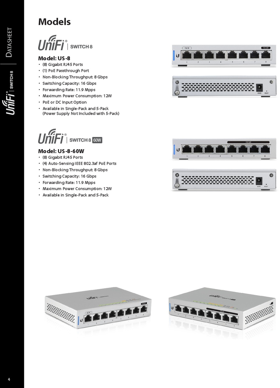 Ubiquiti US-8-60W UniFi 8 Port Gigabit Switch with 4 PoE Ports 3