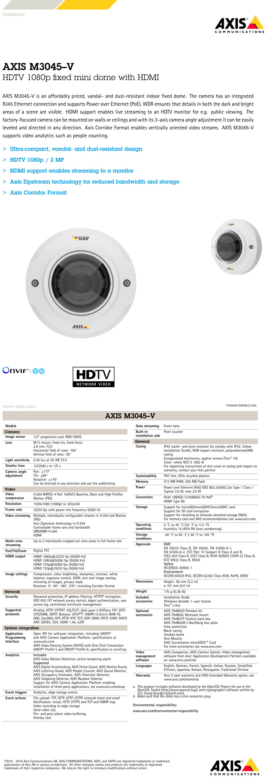 AXIS M3045-V 2MP Dome Camera With HDMI and 2 8mm Lens | DigitalSi