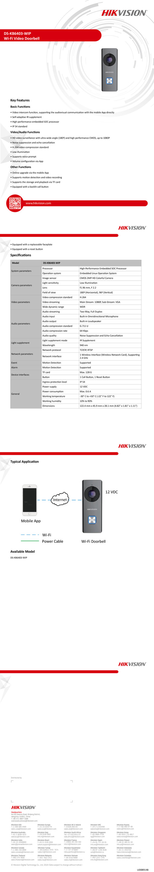 Hikvision WiFi Doorbell With Inbuilt Wide Angle Camera 0