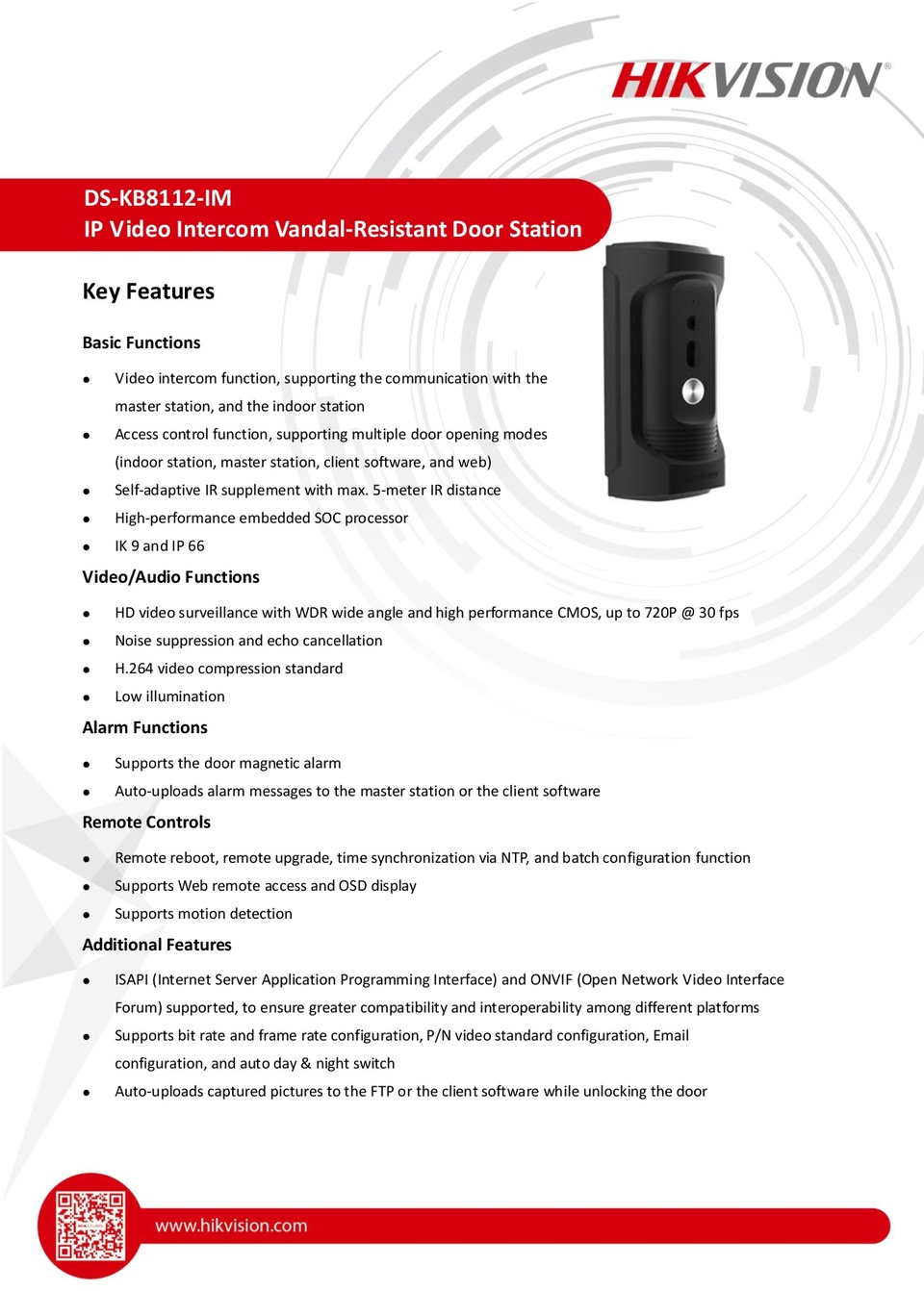 Hikvision DS-KB8112-IM 1.3MP Surface Mount IP Intercom Video Door Station 0