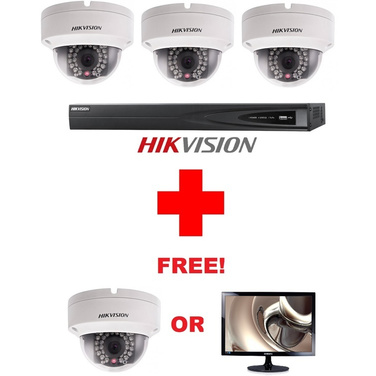 FULLY INSTALLED Hikvision 8CH NVR + 3 x 4MP Outdoor Dome Cameras + Bonus 4th Camera or 23.6 Monitor Free