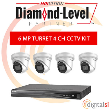 Hikvision 4CH 3TB NVR Kit with 4 x 6 Megapixel 2.8mm Turrets