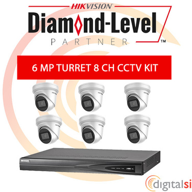 Hikvision 8CH 3TB NVR Kit with 6 x 6 Megapixel 2.8mm Turrets - New Generation Darkfighter