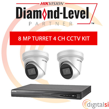 Hikvision 4CH 3TB NVR Kit with 2 x 8 Megapixel 2.8mm Turrets - New Generation Darkfighter