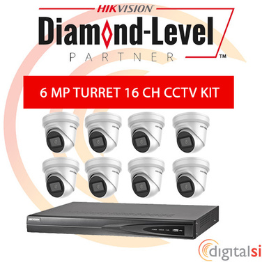 Hikvision 16CH 3TB NVR Kit with 8 x 6 Megapixel 2.8mm Turrets