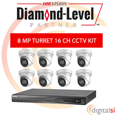 Hikvision 16CH 3TB NVR Kit with 8 x 8 Megapixel 2.8mm Turrets - New Generation Darkfighter